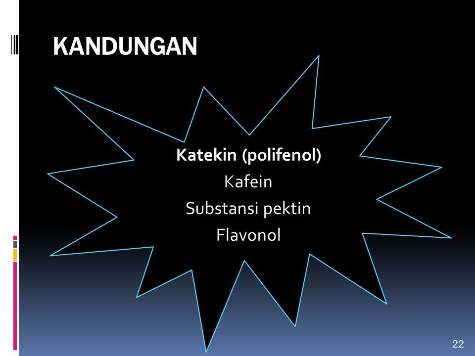 KANDUNGAN Katekin (polifenol) Kafein Substansi pektin Flavonol 22