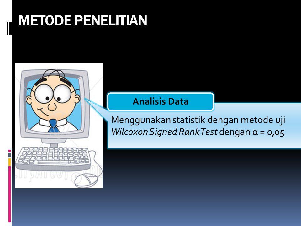 METODE PENELITIAN Menggunakan statistik dengan metode uji Wilcoxon Signed Rank Test dengan α = 0,05 Analisis Data