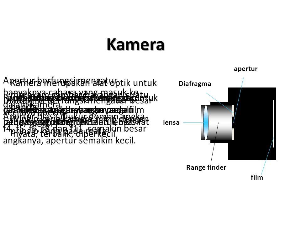 Kamera lensa Diafragma film apertur Range finder Lensa pada kamera berfungsi untuk membentuk bayangan pada film Bayangan yang terbentuk bersifat nyata, terbalik, diperkecil Range finder berfungsi mengatur jarak lensa agar bayangan selalu jatuh tepat pada film Diafragma berfungsi mengatur besar kecilnya apertur Apertur berfungsi mengatur banyaknya cahaya yang masuk ke dalam kamera.
