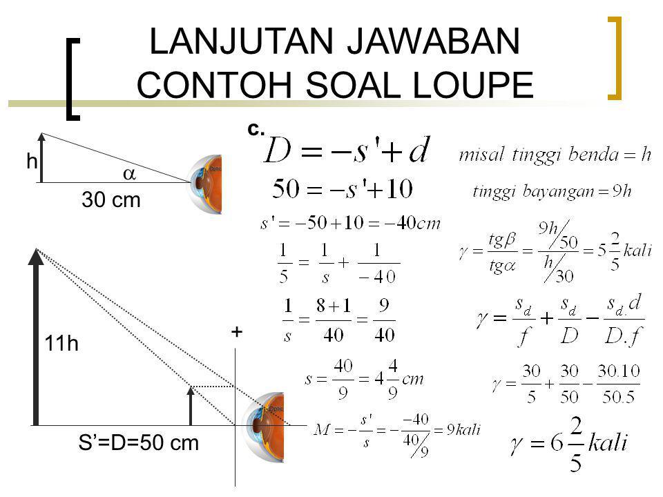 LANJUTAN JAWABAN CONTOH SOAL LOUPE h 30 cm  + 11h S'=D=50 cm c.