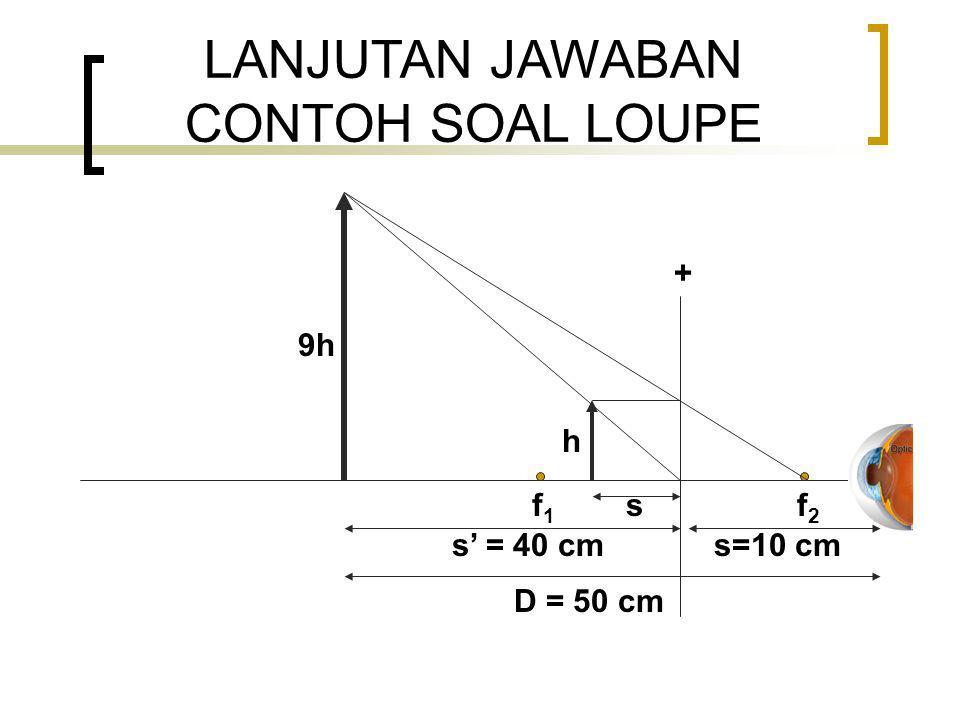 LANJUTAN JAWABAN CONTOH SOAL LOUPE f1f1 f2f2 + h 9h s s' = 40 cms=10 cm D = 50 cm