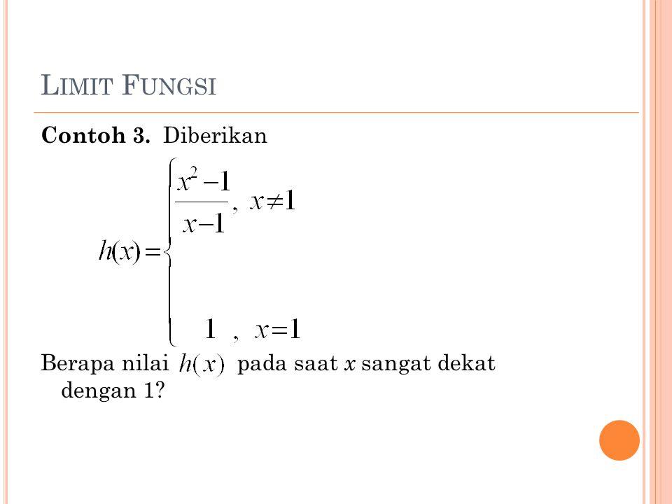 L IMIT F UNGSI Contoh 3. Diberikan Berapa nilai pada saat x sangat dekat dengan 1?