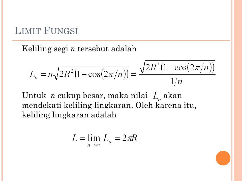 L IMIT F UNGSI Keliling segi n tersebut adalah Untuk n cukup besar, maka nilai akan mendekati keliling lingkaran.