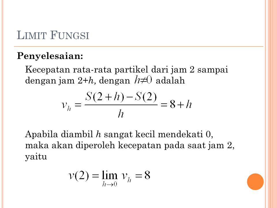 L IMIT F UNGSI Penyelesaian: Kecepatan rata-rata partikel dari jam 2 sampai dengan jam 2+ h, dengan adalah Apabila diambil h sangat kecil mendekati 0, maka akan diperoleh kecepatan pada saat jam 2, yaitu