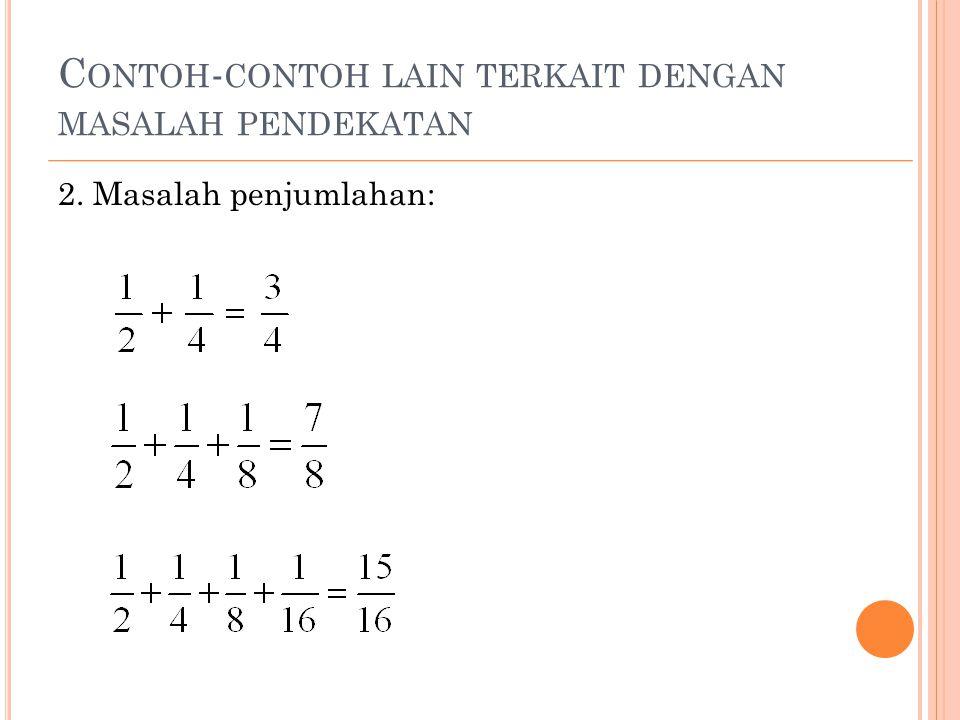 L IMIT F UNGSI Dari Contoh 1, Contoh 2, dan Contoh 3, apabila kita perhatikan beberapa hal yang sama (dalam hal ini tidak usah memperhatikan nilai fungsi di 0 untuk Contoh 1 dan nilai fungsi di 1 untuk Contoh 2 dan Contoh 3), berturut-turut kita katakan: Limit f ( x ) untuk x mendekati 0 sama dengan 1, Limit g ( x ) untuk x mendekati 1 sama dengan 2, Limit h ( x ) untuk x mendekati 1 sama dengan 2, dan masing-masing ditulis dengan