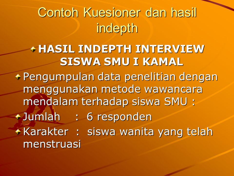 Contoh Kuesioner dan hasil indepth HASIL INDEPTH INTERVIEW SISWA SMU I KAMAL Pengumpulan data penelitian dengan menggunakan metode wawancara mendalam