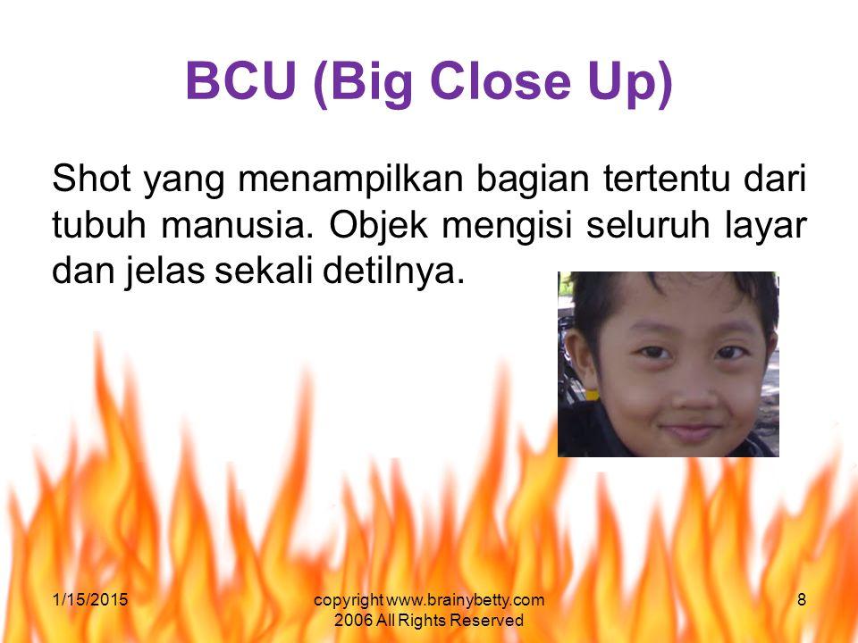 BCU (Big Close Up) Shot yang menampilkan bagian tertentu dari tubuh manusia. Objek mengisi seluruh layar dan jelas sekali detilnya. 1/15/2015copyright
