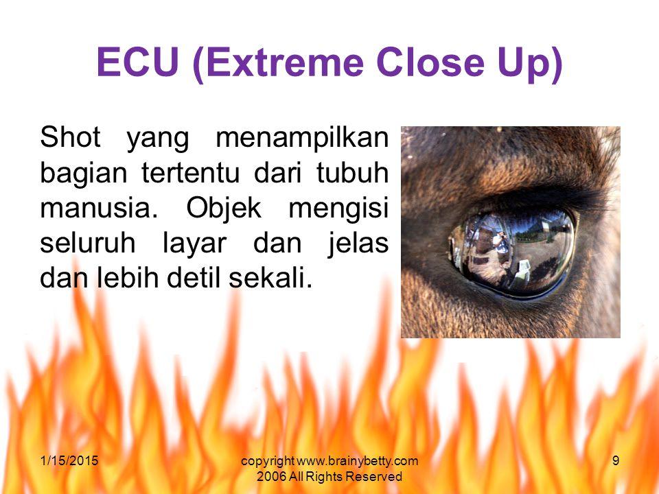 ECU (Extreme Close Up) Shot yang menampilkan bagian tertentu dari tubuh manusia. Objek mengisi seluruh layar dan jelas dan lebih detil sekali. 1/15/20