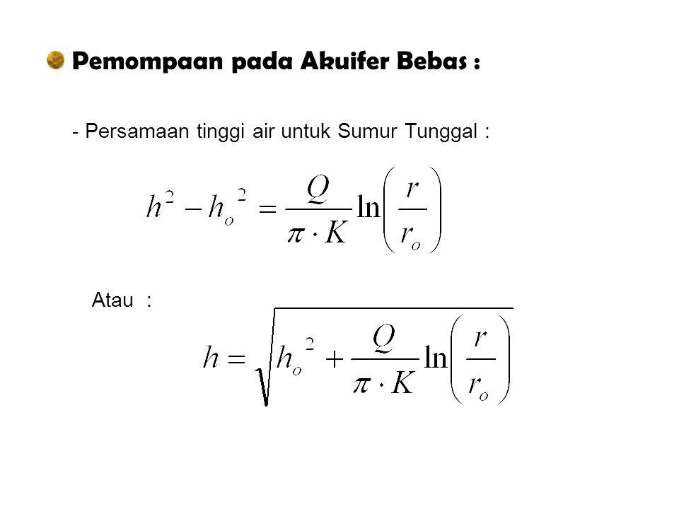 Pemompaan pada Akuifer Bebas : - Persamaan tinggi air untuk Sumur Tunggal : Atau :