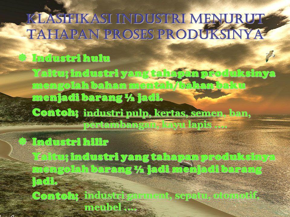 Klasifikasi Industri Menurut Tahapan Proses Produksinya Industri hulu Yaitu; industri yang tahapan produksinya mengolah bahan mentah/bahan baku menja