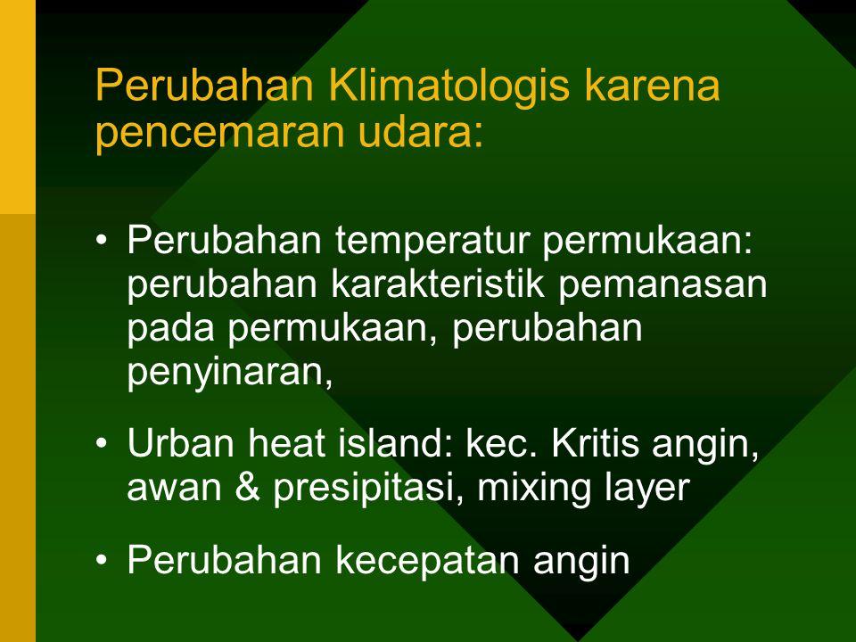 Perubahan Klimatologis karena pencemaran udara: Perubahan temperatur permukaan: perubahan karakteristik pemanasan pada permukaan, perubahan penyinaran, Urban heat island: kec.
