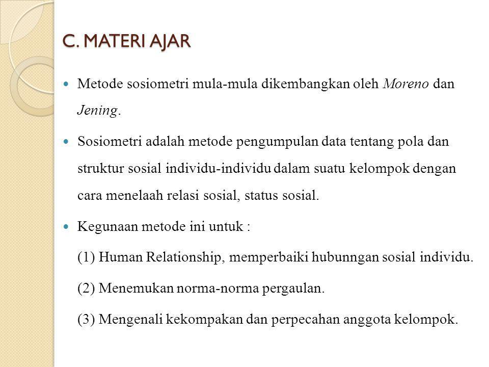 C. MATERI AJAR Metode sosiometri mula-mula dikembangkan oleh Moreno dan Jening. Sosiometri adalah metode pengumpulan data tentang pola dan struktur so