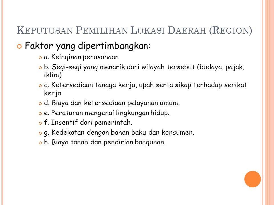 K EPUTUSAN P EMILIHAN L OKASI D AERAH (R EGION ) Faktor yang dipertimbangkan: a. Keinginan perusahaan b. Segi-segi yang menarik dari wilayah tersebut