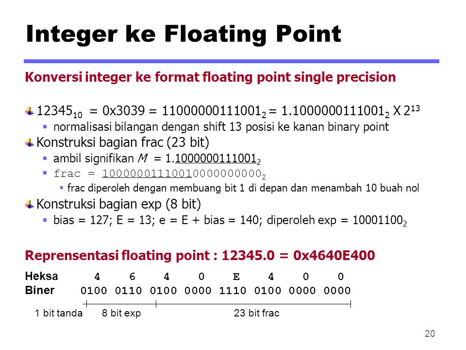 Integer ke Floating Point Konversi integer ke format floating point single precision 12345 10 = 0x3039 = 11000000111001 2 = 1.1000000111001 2 X 2 13 