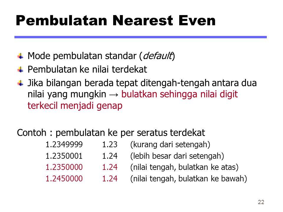 Pembulatan Nearest Even Mode pembulatan standar (default) Pembulatan ke nilai terdekat Jika bilangan berada tepat ditengah-tengah antara dua nilai yang mungkin → bulatkan sehingga nilai digit terkecil menjadi genap Contoh : pembulatan ke per seratus terdekat 1.23499991.23(kurang dari setengah) 1.23500011.24(lebih besar dari setengah) 1.23500001.24(nilai tengah, bulatkan ke atas) 1.24500001.24(nilai tengah, bulatkan ke bawah) 22