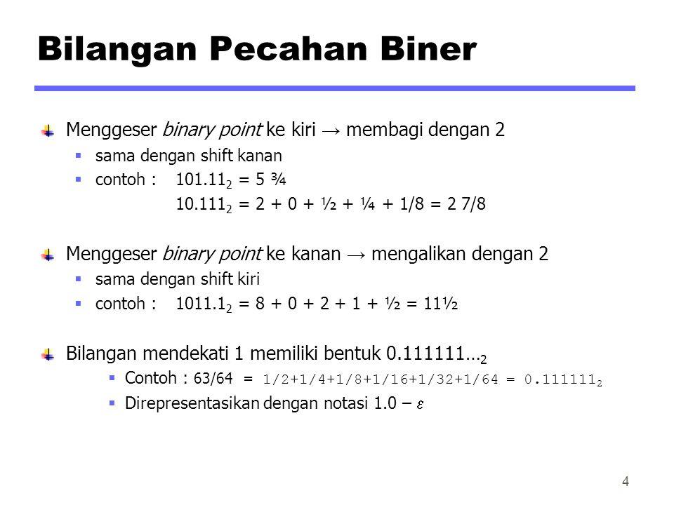 Bilangan Pecahan Biner Menggeser binary point ke kiri → membagi dengan 2  sama dengan shift kanan  contoh : 101.11 2 = 5 ¾ 10.111 2 = 2 + 0 + ½ + ¼ + 1/8 = 2 7/8 Menggeser binary point ke kanan → mengalikan dengan 2  sama dengan shift kiri  contoh : 1011.1 2 = 8 + 0 + 2 + 1 + ½ = 11½ Bilangan mendekati 1 memiliki bentuk 0.111111… 2  Contoh : 63/64= 1/2+1/4+1/8+1/16+1/32+1/64 = 0.111111 2  Direpresentasikan dengan notasi 1.0 –  4