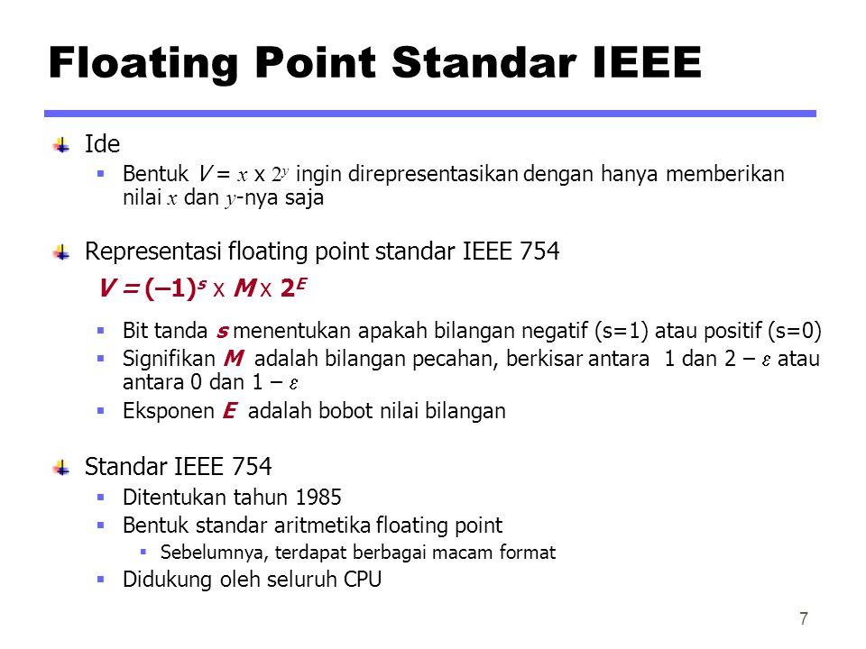 Floating Point Standar IEEE Ide  Bentuk V = x x 2 y ingin direpresentasikan dengan hanya memberikan nilai x dan y -nya saja Representasi floating point standar IEEE 754 V = (–1) s x M x 2 E  Bit tanda s menentukan apakah bilangan negatif (s=1) atau positif (s=0)  Signifikan M adalah bilangan pecahan, berkisar antara 1 dan 2 –  atau antara 0 dan 1 –   Eksponen E adalah bobot nilai bilangan Standar IEEE 754  Ditentukan tahun 1985  Bentuk standar aritmetika floating point  Sebelumnya, terdapat berbagai macam format  Didukung oleh seluruh CPU 7