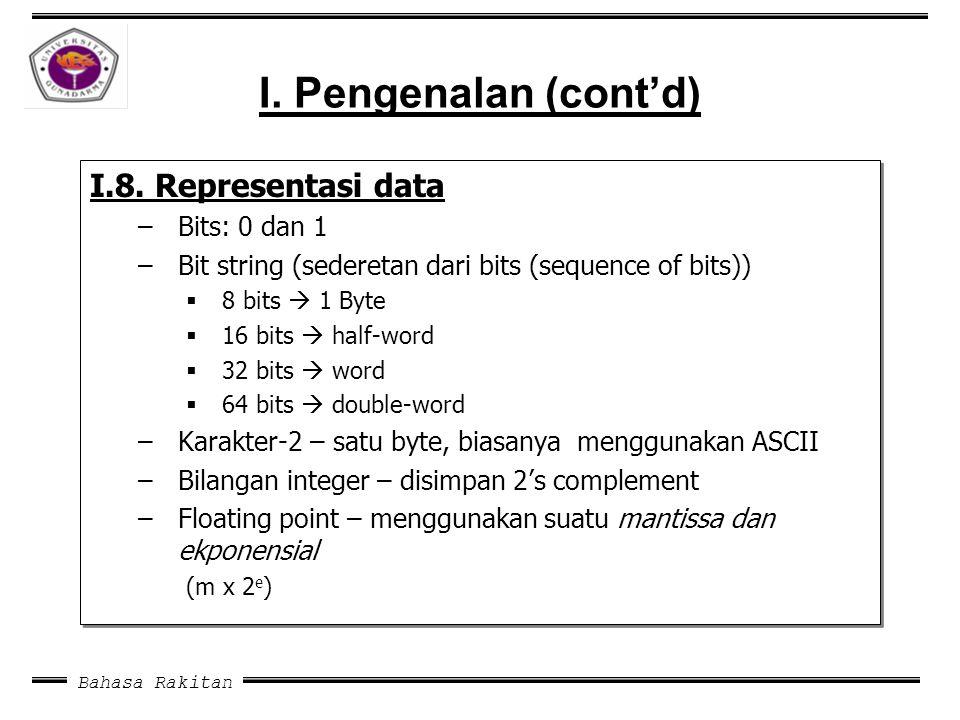 Bahasa Rakitan I. Pengenalan (cont'd) I.8. Representasi data –Bits: 0 dan 1 –Bit string (sederetan dari bits (sequence of bits))  8 bits  1 Byte  1