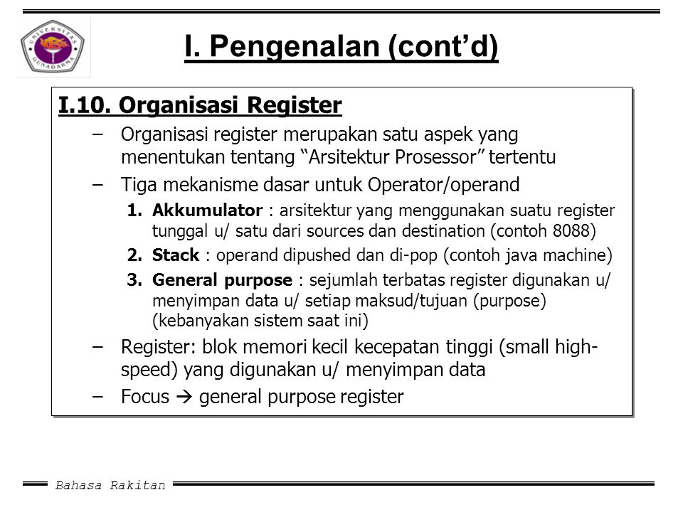 "Bahasa Rakitan I. Pengenalan (cont'd) I.10. Organisasi Register –Organisasi register merupakan satu aspek yang menentukan tentang ""Arsitektur Prosesso"