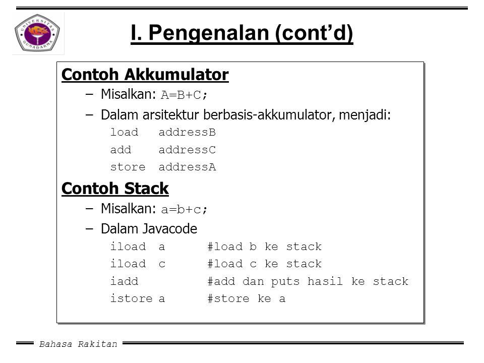 Bahasa Rakitan I. Pengenalan (cont'd) Contoh Akkumulator –Misalkan: A=B+C; –Dalam arsitektur berbasis-akkumulator, menjadi: load addressB add addressC
