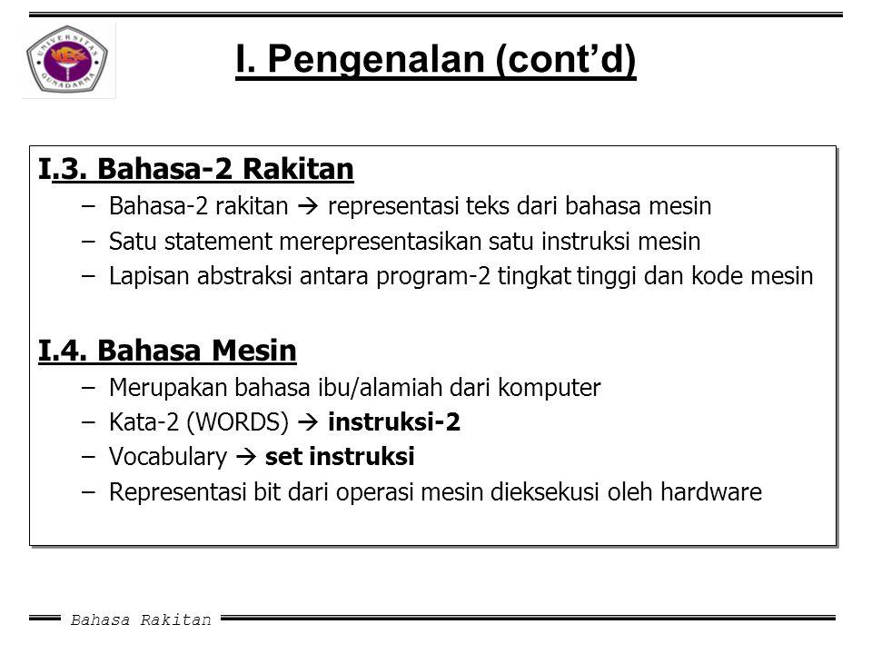 Bahasa Rakitan I. Pengenalan (cont'd) I.3. Bahasa-2 Rakitan –Bahasa-2 rakitan  representasi teks dari bahasa mesin –Satu statement merepresentasikan