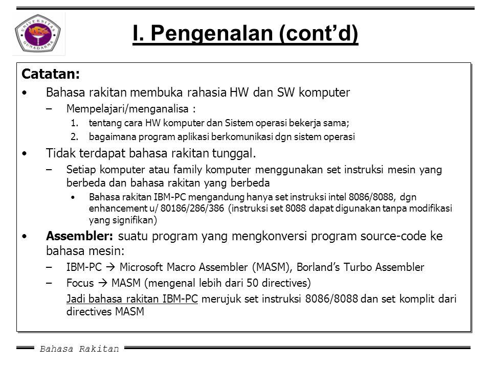 Bahasa Rakitan I. Pengenalan (cont'd) Catatan: Bahasa rakitan membuka rahasia HW dan SW komputer –Mempelajari/menganalisa : 1.tentang cara HW komputer