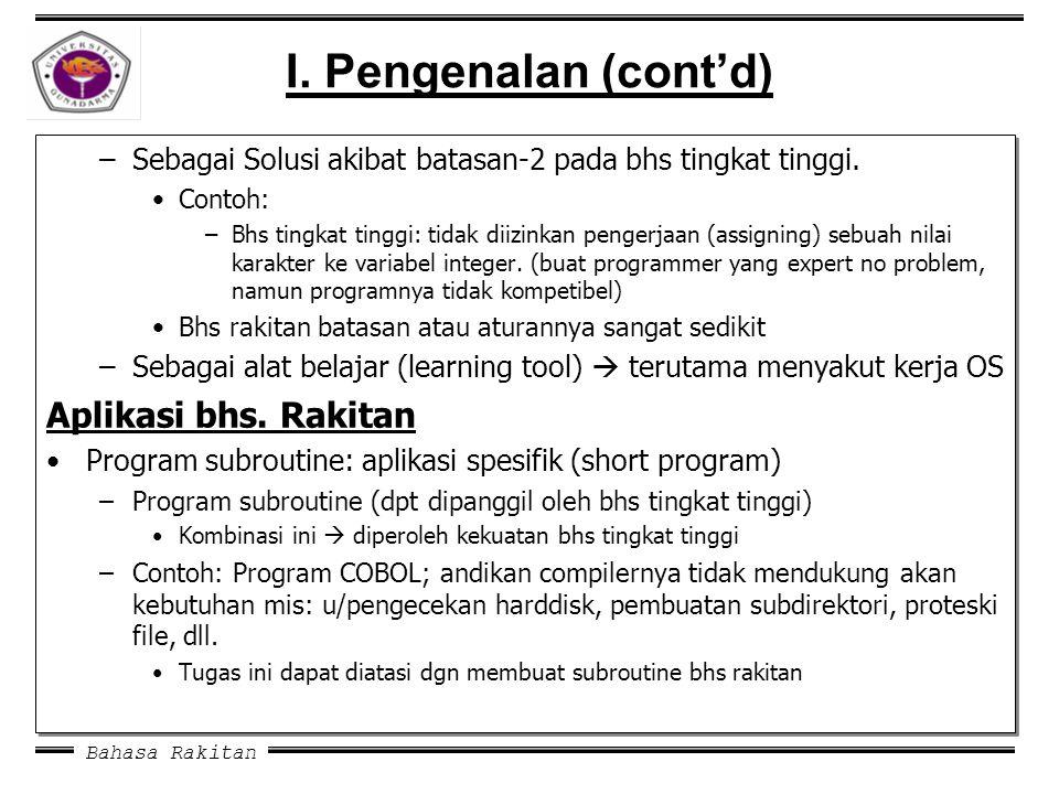 Bahasa Rakitan I. Pengenalan (cont'd) –Sebagai Solusi akibat batasan-2 pada bhs tingkat tinggi. Contoh: –Bhs tingkat tinggi: tidak diizinkan pengerjaa