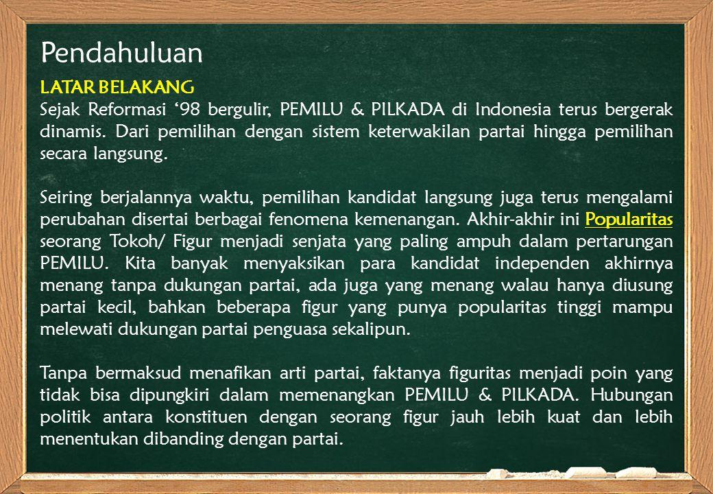 Pendahuluan LATAR BELAKANG Sejak Reformasi '98 bergulir, PEMILU & PILKADA di Indonesia terus bergerak dinamis. Dari pemilihan dengan sistem keterwakil