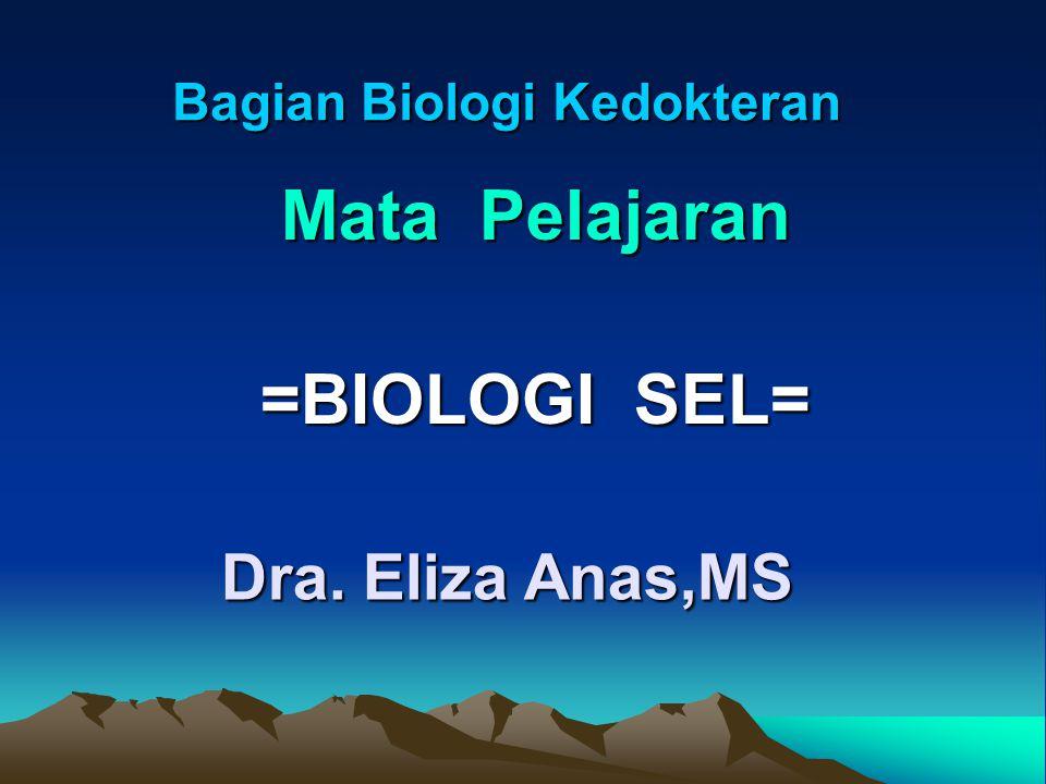 Bagian Biologi Kedokteran Mata Pelajaran =BIOLOGI SEL= Dra. Eliza Anas,MS