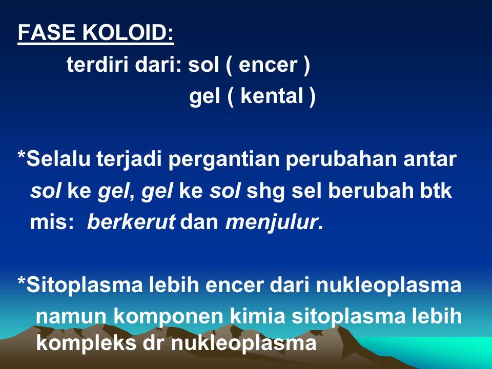 KOLOID KOMPLEKS Sel mengandung sistem koloid artinya: * mol sederhana larut dlm sito- plasma mis: garam mineral, as amino, polipeptida rantai pendek d