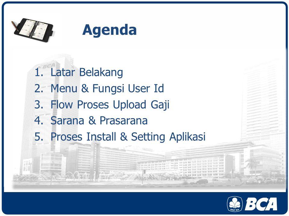 Agenda 1.Latar Belakang 2.Menu & Fungsi User Id 3.Flow Proses Upload Gaji 4.Sarana & Prasarana 5.Proses Install & Setting Aplikasi