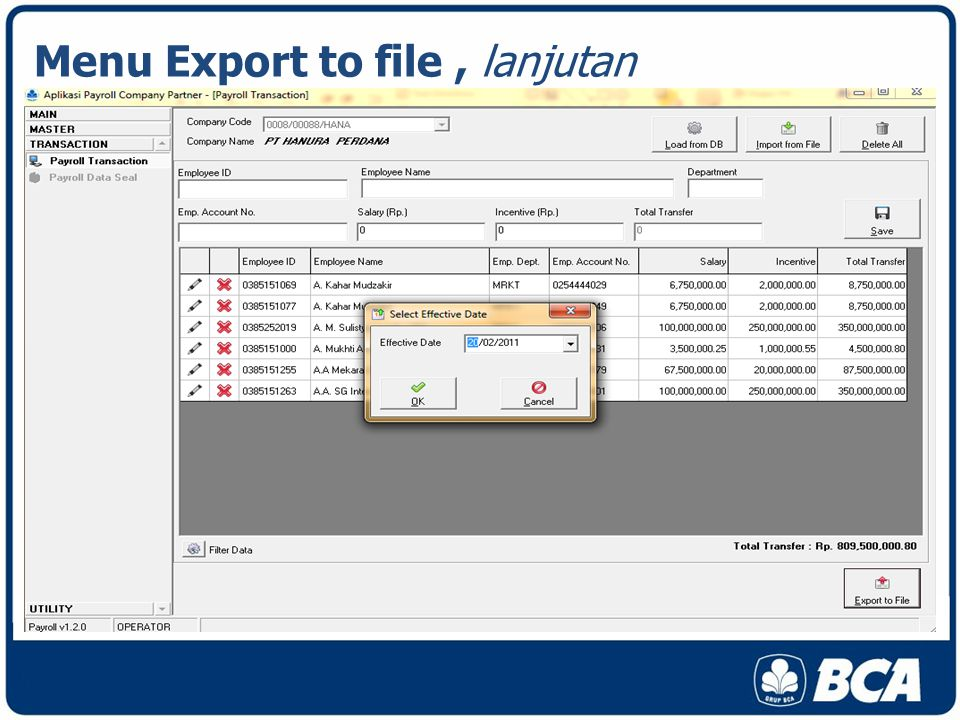 Menu Export to file, lanjutan