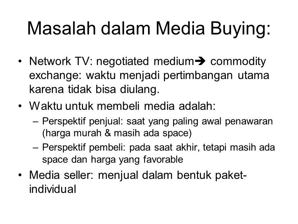 Masalah dalam Media Buying: Network TV: negotiated medium  commodity exchange: waktu menjadi pertimbangan utama karena tidak bisa diulang. Waktu untu