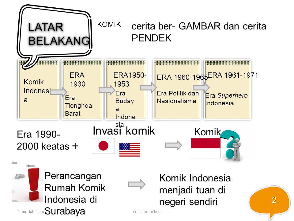 Your date hereYour footer here 2 LATAR BELAKANG Komik Indonesi a ERA 1930 Era Tionghoa Barat ERA1950- 1953 Era Buday a Indone sia KOMIK cerita ber- GA