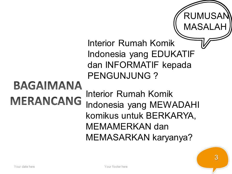 Your date hereYour footer here 3 RUMUSAN MASALAH Interior Rumah Komik Indonesia yang EDUKATIF dan INFORMATIF kepada PENGUNJUNG ? Interior Rumah Komik