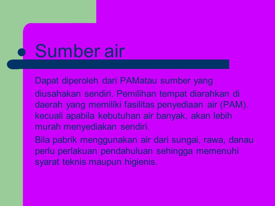 Sumber air Dapat diperoleh dari PAMatau sumber yang diusahakan sendiri.
