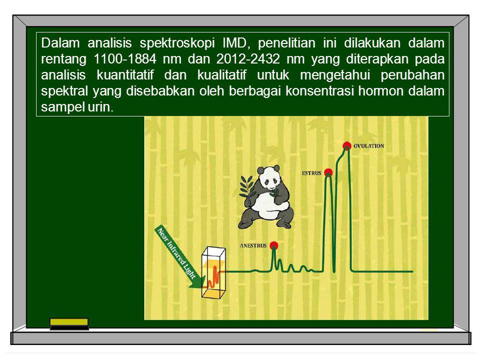 Dalam analisis spektroskopi IMD, penelitian ini dilakukan dalam rentang 1100-1884 nm dan 2012-2432 nm yang diterapkan pada analisis kuantitatif dan ku
