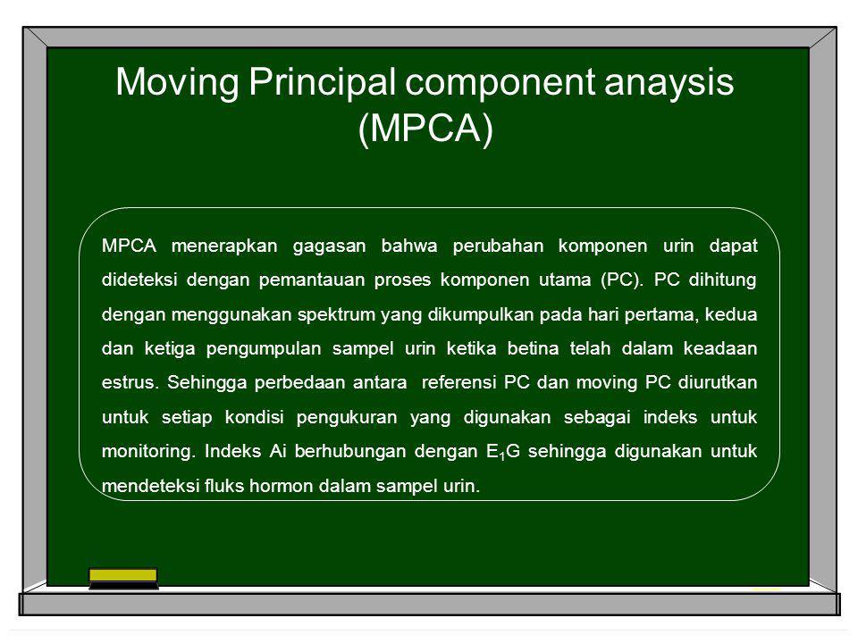 Moving Principal component anaysis (MPCA) MPCA menerapkan gagasan bahwa perubahan komponen urin dapat dideteksi dengan pemantauan proses komponen utam