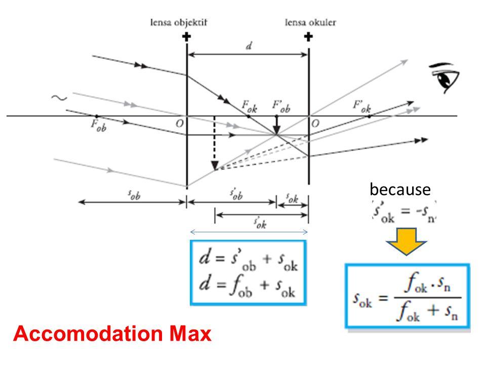 1.Sebuah mikroskop mempunyai fokus 25 cm dan 10 cm, Obyek terletak di 15 cm dengan mata berakomodasi maks.Maka perbesaran-nya....