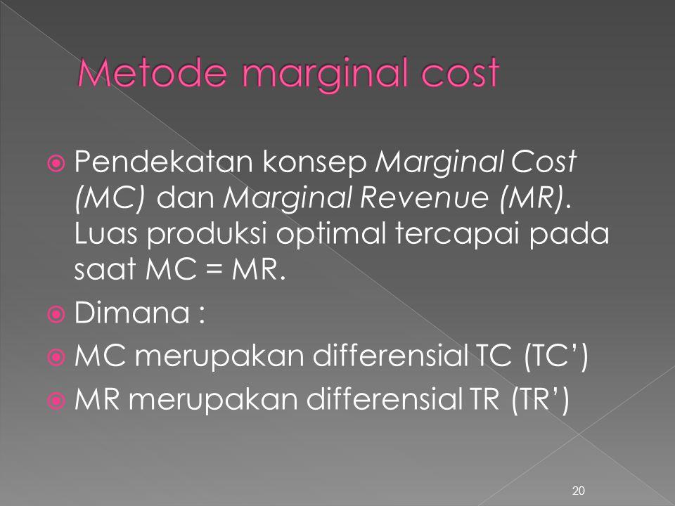  Pendekatan konsep Marginal Cost (MC) dan Marginal Revenue (MR). Luas produksi optimal tercapai pada saat MC = MR.  Dimana :  MC merupakan differen