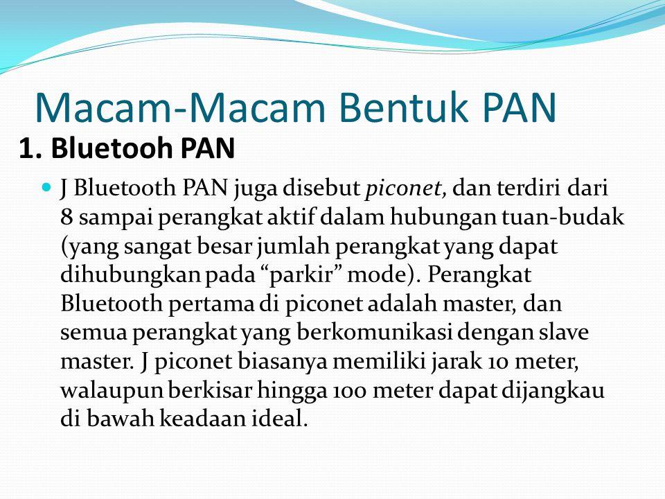 Macam-Macam Bentuk PAN J Bluetooth PAN juga disebut piconet, dan terdiri dari 8 sampai perangkat aktif dalam hubungan tuan-budak (yang sangat besar jumlah perangkat yang dapat dihubungkan pada parkir mode).