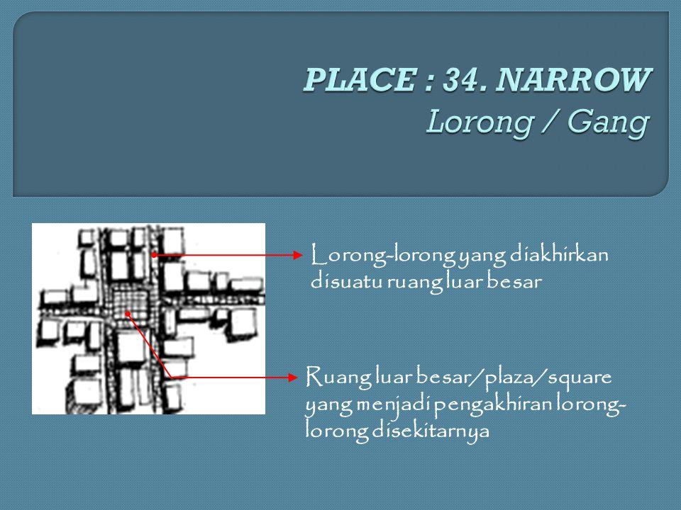 Lorong-lorong yang diakhirkan disuatu ruang luar besar Ruang luar besar/plaza/square yang menjadi pengakhiran lorong- lorong disekitarnya