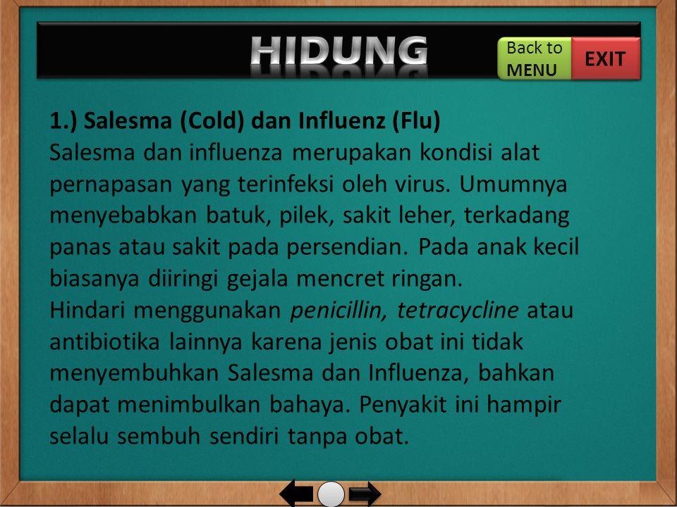 1.) Salesma (Cold) dan Influenz (Flu) Salesma dan influenza merupakan kondisi alat pernapasan yang terinfeksi oleh virus. Umumnya menyebabkan batuk, p