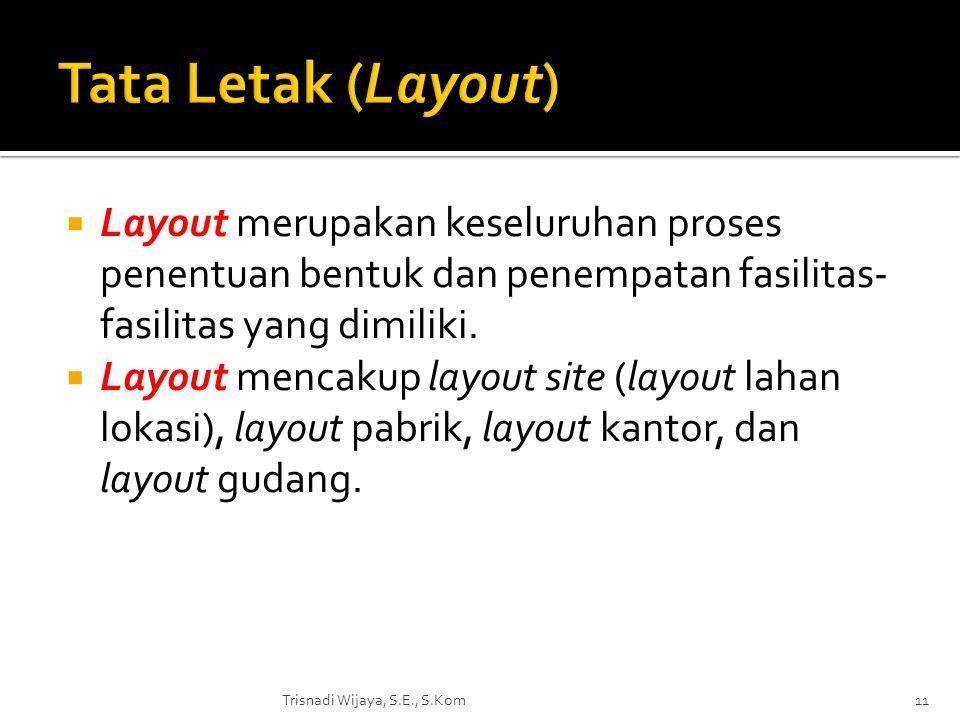  Layout merupakan keseluruhan proses penentuan bentuk dan penempatan fasilitas- fasilitas yang dimiliki.