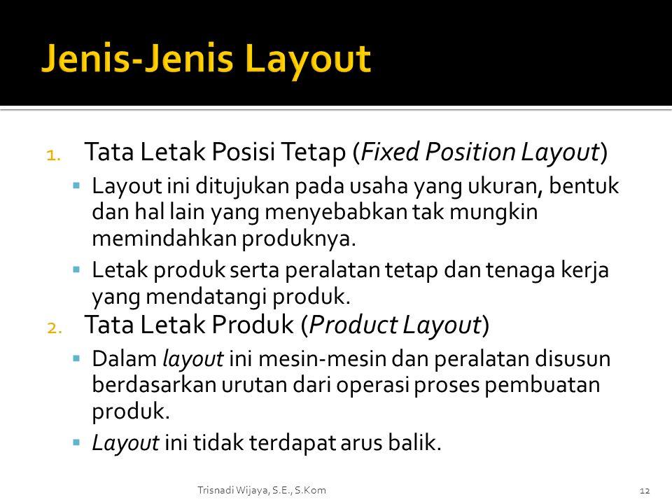 1. Tata Letak Posisi Tetap (Fixed Position Layout)  Layout ini ditujukan pada usaha yang ukuran, bentuk dan hal lain yang menyebabkan tak mungkin mem