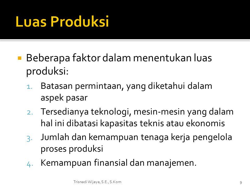  Beberapa faktor dalam menentukan luas produksi: 1. Batasan permintaan, yang diketahui dalam aspek pasar 2. Tersedianya teknologi, mesin-mesin yang d