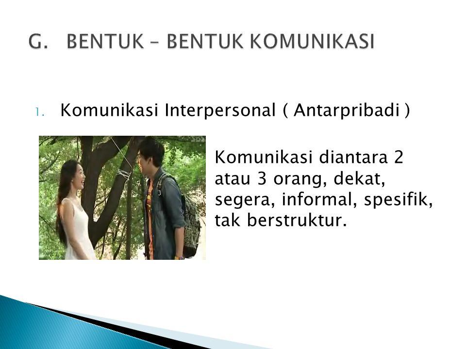 1. Komunikasi Interpersonal ( Antarpribadi ) Komunikasi diantara 2 atau 3 orang, dekat, segera, informal, spesifik, tak berstruktur.