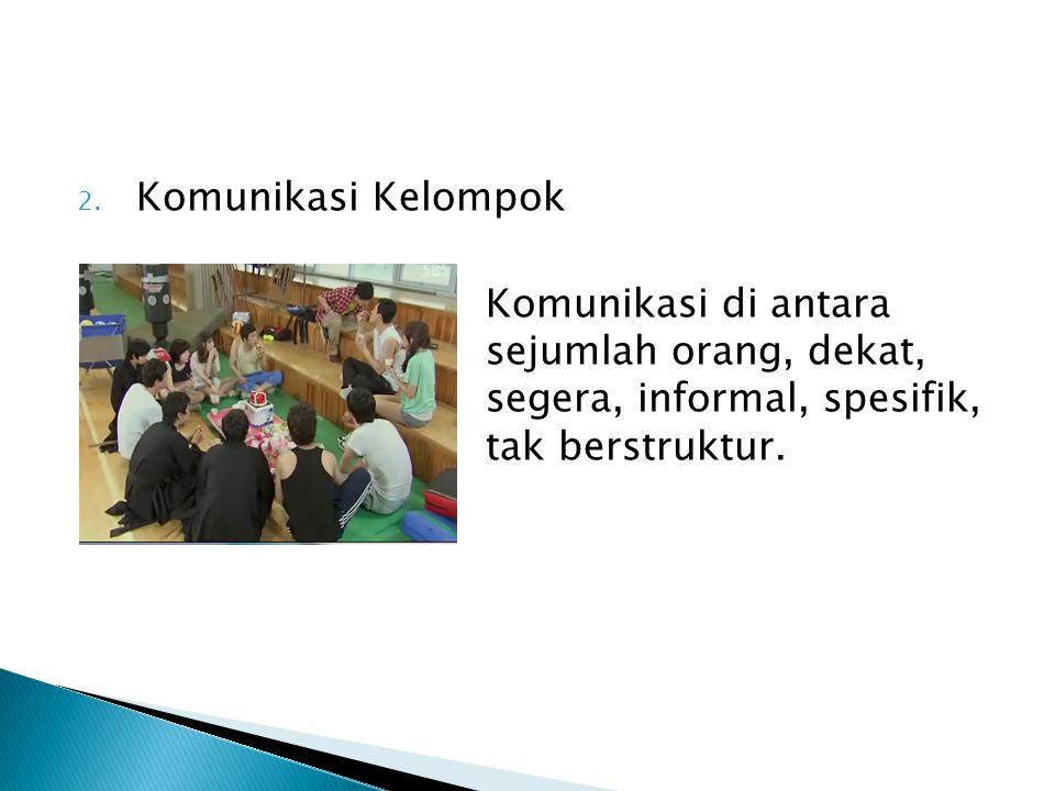 2. Komunikasi Kelompok Komunikasi di antara sejumlah orang, dekat, segera, informal, spesifik, tak berstruktur.