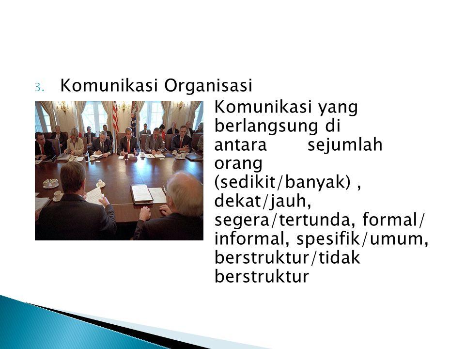 3. Komunikasi Organisasi Komunikasi yang berlangsung di antara sejumlah orang (sedikit/banyak), dekat/jauh, segera/tertunda, formal/ informal, spesifi