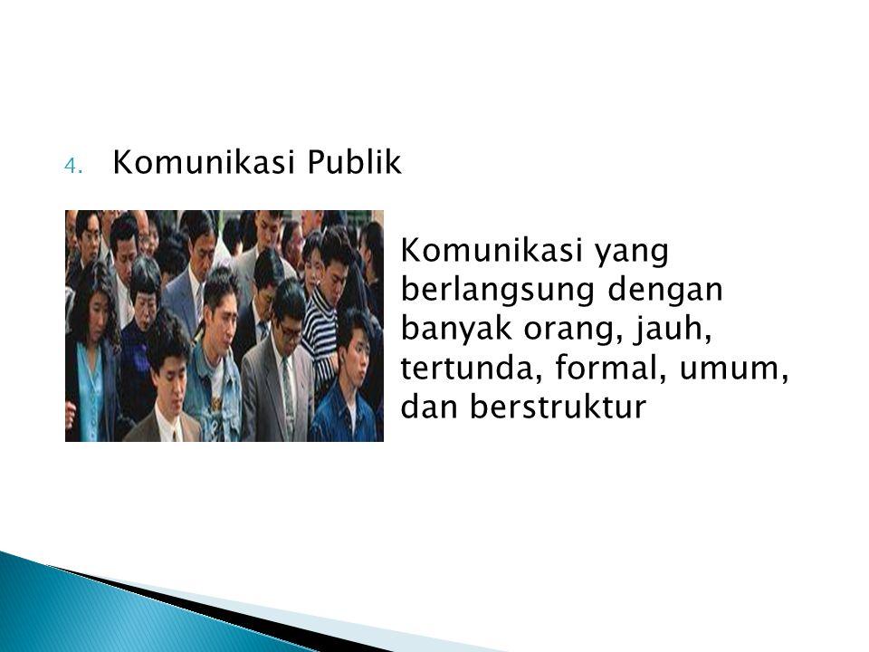 4. Komunikasi Publik Komunikasi yang berlangsung dengan banyak orang, jauh, tertunda, formal, umum, dan berstruktur